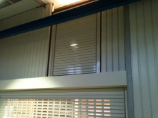 The roller shutter also includes a safety brake and is powder coated to clients specification.